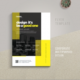 Conference Business Flyer With Black Yellow Accent