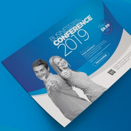 Conference Corporate Flyer Template With Blue Accent