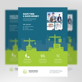 Construction Flyer With Green And Blue Building Elements