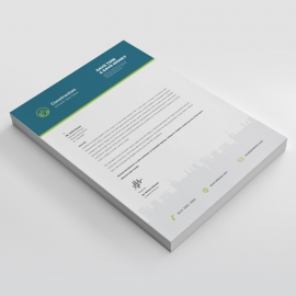 Construction Letterhead With Blue Elements