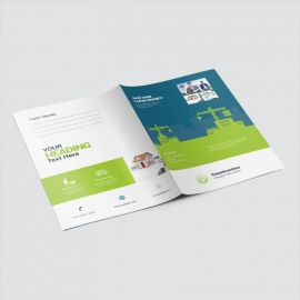 Construction Presentation Folder With Blue & Green Elements