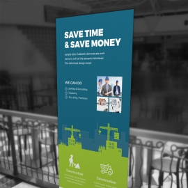 Construction Rollup Banner With Blue Green Build Elements
