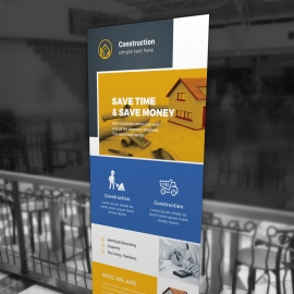 Construction Rollup Banner With Yellow Boxs