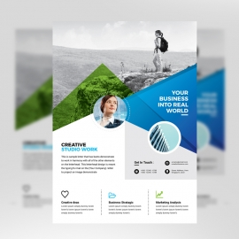 Coporate Business Flyer With Green & Blue
