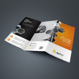 Business Trifold Brochure With Orange & Black Accent