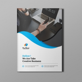 Corporate Bi-Fold Brochure With Blue Concepts