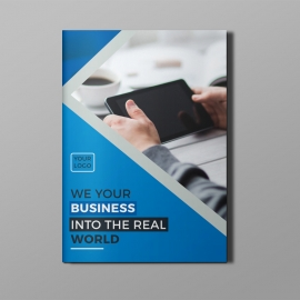 Corporate Bi-Fold Brochure With Blue Elements