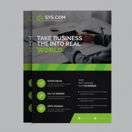 Corporate Black Green Business Flyer
