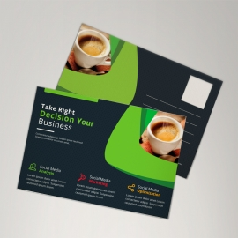 Corporate Black Green Postcard