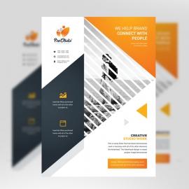 Corporate Black Orange Flyer With Triangle