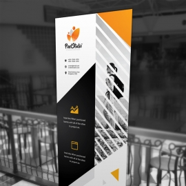 Corporate Black Orange Rollup With Triangle