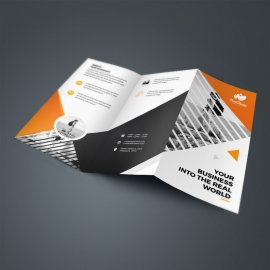 Corporate Black Orange TriFold Brochure With Triangle