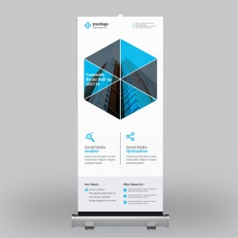 Corporate Blue Green Roll-Up Banner