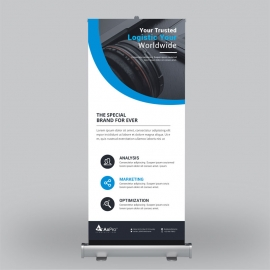 Corporate Blue Roll-Up Banner