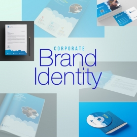 Corporate Brand Identity With Blue Concepts
