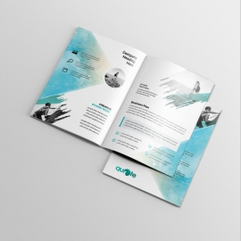 Business BiFold Brochure With Watercolor Brush Design