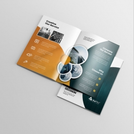Business Bifold Brochure With Circles Element