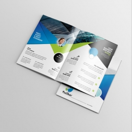 Corporate Business BiFold Brochure With Black & Blue