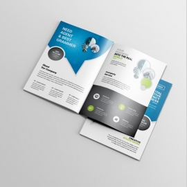 Corporate Business BiFold Brochure WIth Cricle Blue Accent