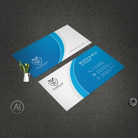 Corporate Business Card With Blue Accent