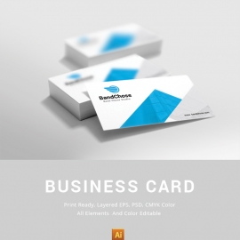 Corporate Business Card With Blue Shape
