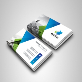 Business Card With Blue Green Triangles