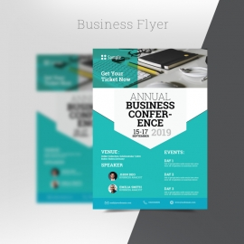Corporate Business Flyer Template With Turquoise Accent