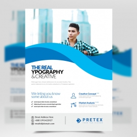 Corporate Business Flyer With Abstract Shapes