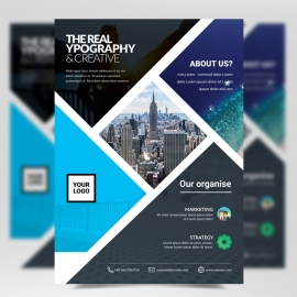 Corporate Business Flyer with Black Cyan Accent