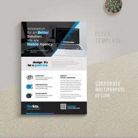 Corporate Business Flyer With Blue Accent