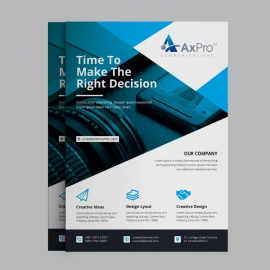 Corporate Business Flyer With Blue Elements