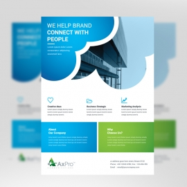 Corporate Business Flyer With Blue Green Accent