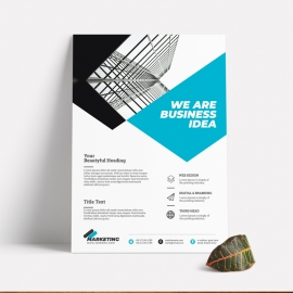 Corporate Business Flyer With Cyan Accent