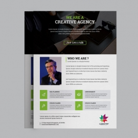Corporate Business Flyer With Green Blue Elements