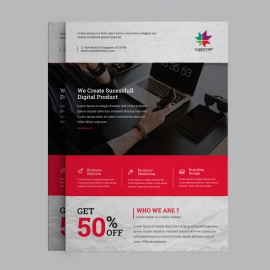 Corporate Business Flyer With Green Concepts