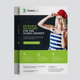 Corporate Business Flyer With Green Elements