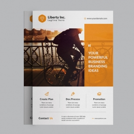 Corporate Business Flyer With Orange Elements