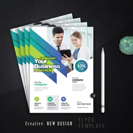 Corporate Business Flyer With Paste And Green Accent