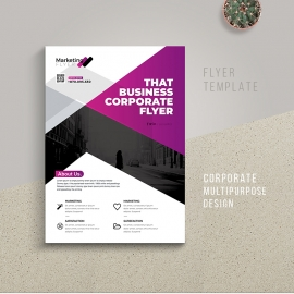 Corporate Business Flyer With Purple Accent