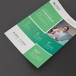 Corporate Business Flyer With Rectangle Boxs