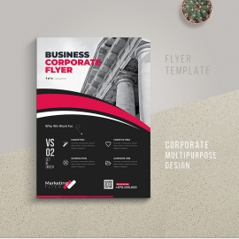 Corporate Business Flyer With Red Acssent