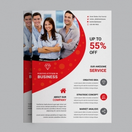 Corporate Business Flyer With Red Concepts