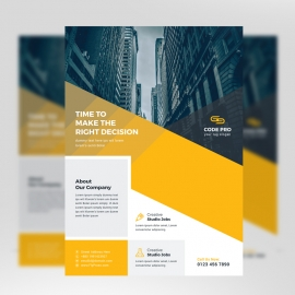 Corporate Business Flyer With Yellow Accent