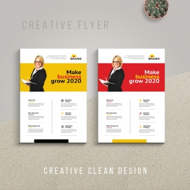Corporate Business Flyer With Yellow And Red Accent