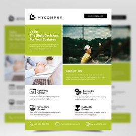 Corporate Business Green Flyer Template