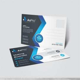 Corporate Business Post Card With Black Accent