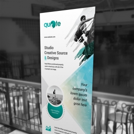 Turquoise Watercolor Business Rollup Banner