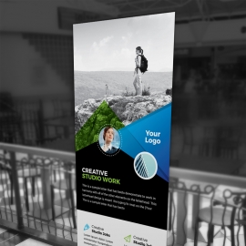 Corporate Business Rollup Banner With City Background