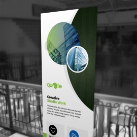 Corporate Business Rollup Banner With Cricle
