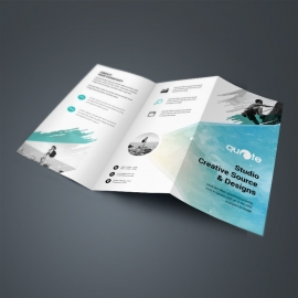 Business Trifold Brochure With Turquoise Brush Design